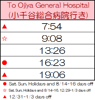 Bus timetable (to Ojiya sta direction)