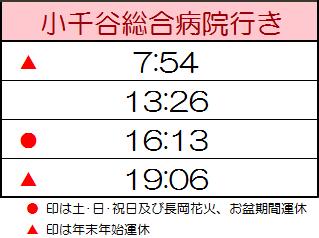 寺沢バス停・時刻表